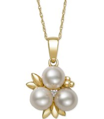 belle de mer cultured freshwater pearl (6mm) and diamond accent pendant necklace in 14k gold, created for macy's