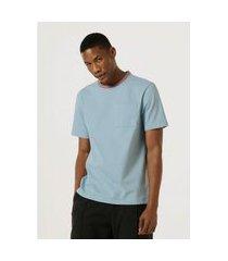 camiseta hering unissex color block com bolso azul