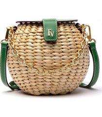 frances valentine honeypot woven crossbody bag - green