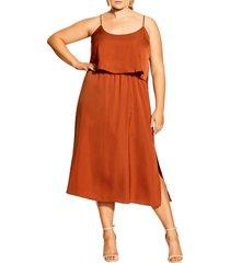plus size women's city chic halter neck satin midi dress