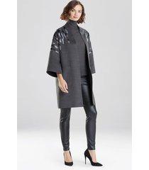 natori felted wool embroidered kimono coat, women's, grey, size l natori