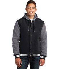 sport-tek jst82 mens insulated letterman jacket - black/vintage heather