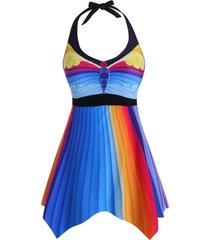 colorful stripes printed halter plus size tankini swimsuit