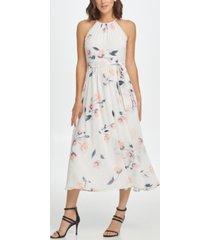dkny floral fit & flare midi dress