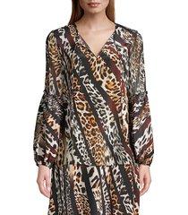 kobi halperin women's fallon mix leopard-print silk blouse - black tan multicolor - size xs