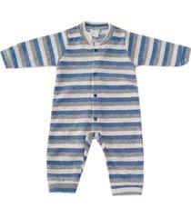 macacão pijama miniclo listrado azul