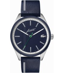 lacoste men's heritage blue leather strap watch 42mm