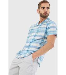 camisa blanco-azul nautica