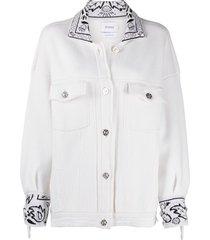 barrie oversized cashmere bandana jacket - white