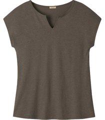 hennep-shirt met tuniekhals, taupe 40/42