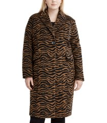 tahari plus size zebra-print walker coat, created for macy's