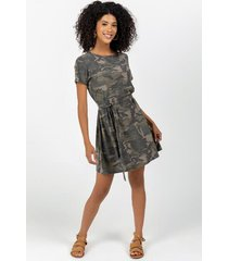 brooke camo shift mini dress - olive