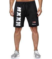 hombres summer letter print mesh shorts de cintura elástica transpirables sueltos