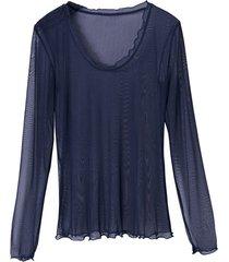 shirt met lange mouwen en ronde hals uit biologische zijde, nachtblauw 40/42