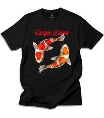 camiseta alternativa cool tees peixes carpe diem - masculino