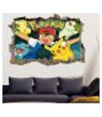 adesivo buraco na parede pokemon - g 65x100cm