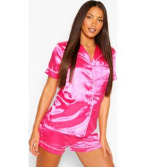 tall satin pyjama shorts set, pink