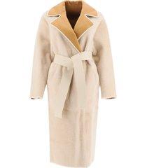 blancha two-tone reversible shearling coat