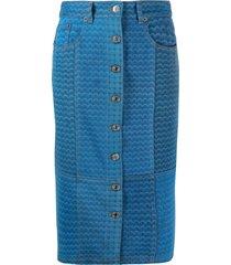 marine serre moon-print pencil skirt - blue