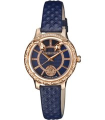 roberto cavalli by franck muller women's diamond swiss quartz navy calfskin leather strap watch, 34mm