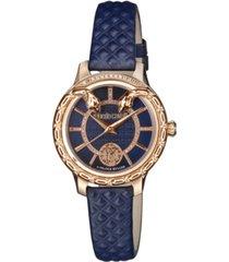 roberto cavalli by franck muller women's diamond swiss quartz navy calfskin leather strap watch, 34mm