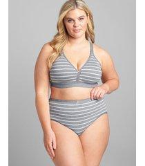 lane bryant women's cotton high-leg brief panty 30/32 grey stripes