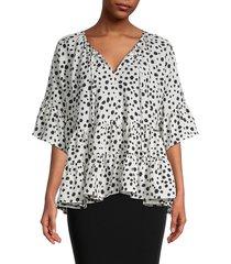 stellah women's oversized printed blouse - white - size s