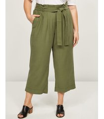 lane bryant women's soft ankle pant with belt 20p winter moss