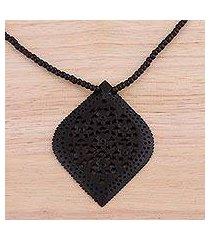 ebony wood pendant necklace, 'mughal delight' (india)
