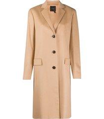 agnona single-breasted midi coat - neutrals