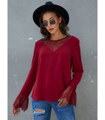 blusa de manga larga con cuello redondo y detalles de encaje burdeos de yoins