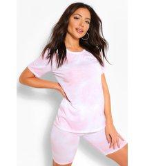 tie dye t-shirt and cycling short set, light pink