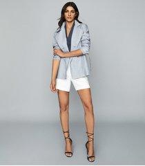 reiss arta - linen jacket in pale blue, womens, size 12