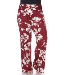 white mark plus size flower print palazzo pants