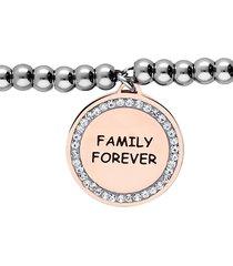 """bracciale """"family forever"""" in acciaio con ciondolo rosato e strass per donna"""