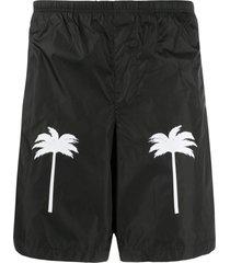 palm angels short de natação com estampa de palmeiras - preto