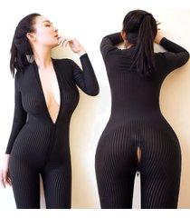dame black striped sheer bodysuit smooth fiber 2 zipper long sleeve jumpsuit