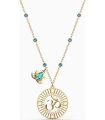 pendente swarovski symbolic lotus, verde, placcato color oro