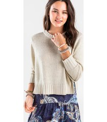 brooklyn split side crewneck sweater - taupe