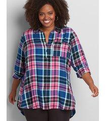 lane bryant women's plaid popover tunic top 14 pink ans blue plaid