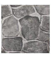 kit 2 rolos de papel de parede fwb lavável pedras cinza rústica 3d