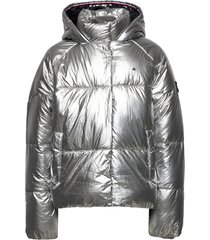 metallic puffer jacket gevoerd jack zilver tommy hilfiger