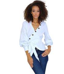 camisa cruzada con botonera decorativa blanca unipunto 32357