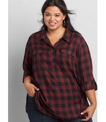 lane bryant women's checkered button-front tunic top 10/12 black and maroon buffalo print