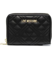 love moschino logo-plaque quilted wallet - black