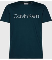polera calvin klein front logo t-shirt azul petróleo - calce regular