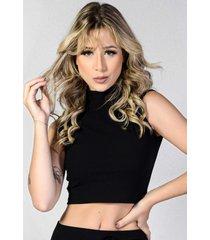 blusa cropped canelado yasmin lingerie ca01 preto - preto - feminino - dafiti