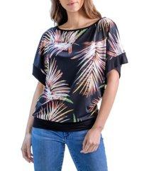 women's palm leaf print wide sleeve top