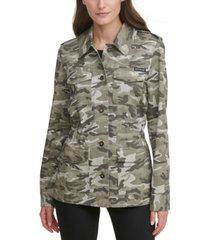 dkny jeans juniors' camo-print cargo jacket
