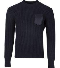 knit ribbed single pocket sweater navy